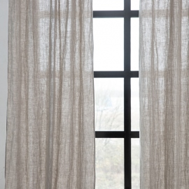 Linen Curtain Panel with Ties Natural Rustico Washed