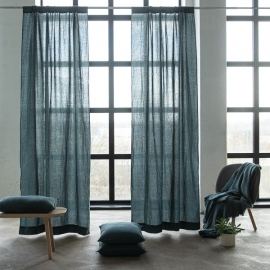 Linen Rod Pocket Curtain Panel Balsa, Green Stone Washed