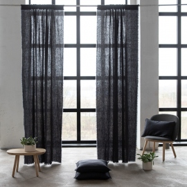 Linen Rod Pocket Curtain Panel Charcoal Terra Fringe