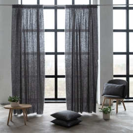 Linen Rod Pocket Curtain Panel Graphite Terra Fringe
