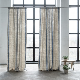 Linen Rod Pocket Curtain Panel Blue Provence
