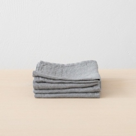 Set of 4 Graphite Linen Wash Cloths Waffle
