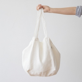 Linen Beach Bag Off White Lara