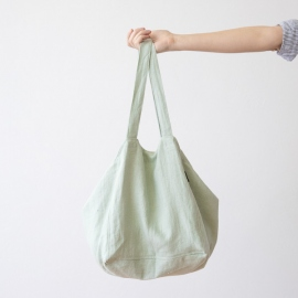 Linen Beach Bag Soft Grass Lara