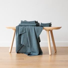 Set of 4 Balsam Green Linen Wash Cloths Waffle
