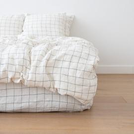 White Navy Window Pane Washed Bed Linen Duvet