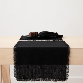 Linen Placemat Black Terra Fringe