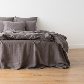 Washed Bed Linen Flat Sheet Graphite
