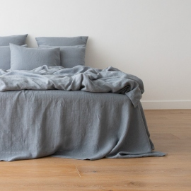 Washed Bed Linen Flat Sheet Slate Blue