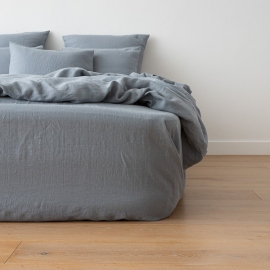 Washed Bed Linen Fitted Sheet Slate Blue