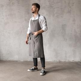 Washed Linen Men's Bib Apron Steel Grey