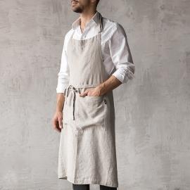 Washed Linen Men's Bib Apron Silver