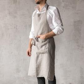 Washed Linen Men's Bib Apron Taupe