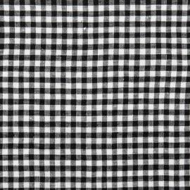 Black White Gingham Linen Fabric Prewashed