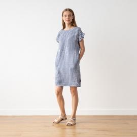 Blue White Check Linen Dress Alice