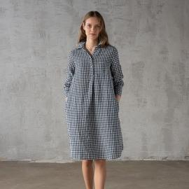 Navy Check  Linen Dress Camilla