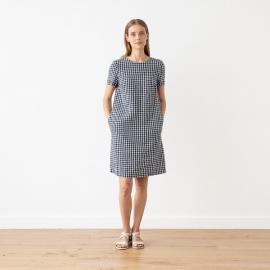 Navy Check Linen Dress Isabella
