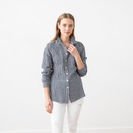 Navy Check Linen Shirt  Ernesto