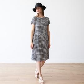 Black White Gingham Linen Dress Adel