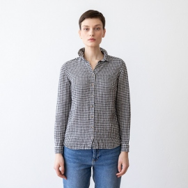 Black White Gingham Linen Shirt  Ernesto