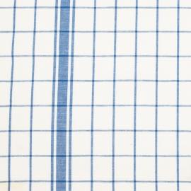 Linen Fabric Sample Check White Blue