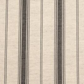 Linen Fabric Sample Multistripe Natural Black