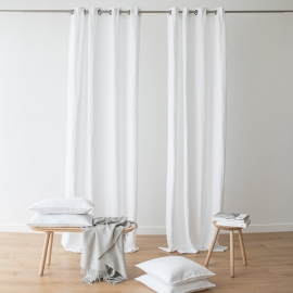 Linen Curtain Panel with Grommets Terra White