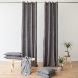 Linen Curtain Panel with Grommets Terra Steel Grey