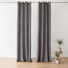 Linen Curtain Panel with Grommets Terra Steel Grey