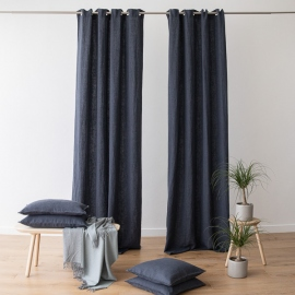 Linen Curtain Panel with Grommets Terra Anthracite