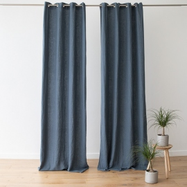 Linen Curtain Panel with Grommets Terra Blue