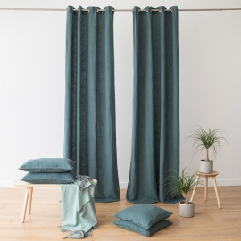 Linen Curtain Panel with Grommets Terra Balsam Green