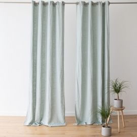 Linen Curtain Panel with Grommets Terra Sea Foam