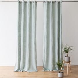 Linen Curtain Panel with Grommets Terra Sea Foam