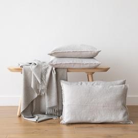 Linen Cushion Cover Silver Terra Fringe