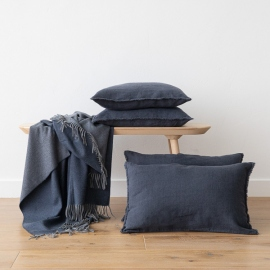 Linen Cushion Cover Anthracite Terra Fringe