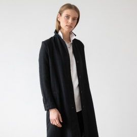 Black Linen Jacket Long Fabio