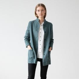 Balsam Green Linen Jacket Short Paolo