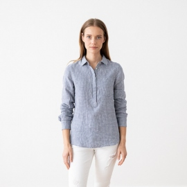 Blue White Linen Shirt Gingham Fabio