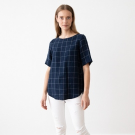 Navy Off White Window Pane Linen Blouse Luisa