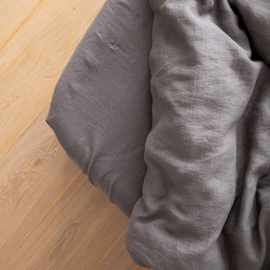 Washed Bed Linen Fitted Sheet Deep Pocket Graphite