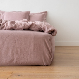 Washed Bed Linen Fitted Sheet Deep Pocket Dusty Rose