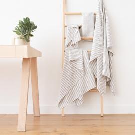 Linen Bath Towels Set Graphite Brittany