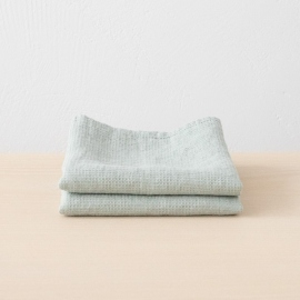 Set of 2 Linen Waffle Hand Towels Sea Foam