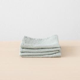 Set of 4 Linen Wash Cloths Waffle Sea Foam