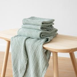 Linen Waffle Bath Towel Set Sea Foam