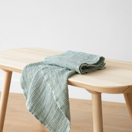 Linen Waffle Hand Towels Sea Foam