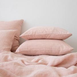 Washed Bed Linen Pillow Case Melange Rosa