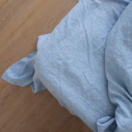 Washed Bed Linen Flat Sheet Melange Blue