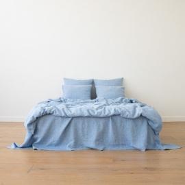 Washed Bed Linen Set Melange Blue